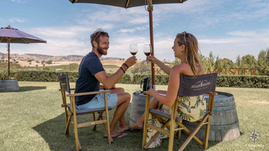 Couple tasting wine at a vineyard in Barossa Valley